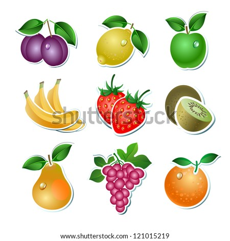 set of vector fruit on the