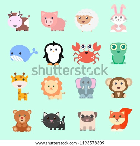 set of vector funny animals in