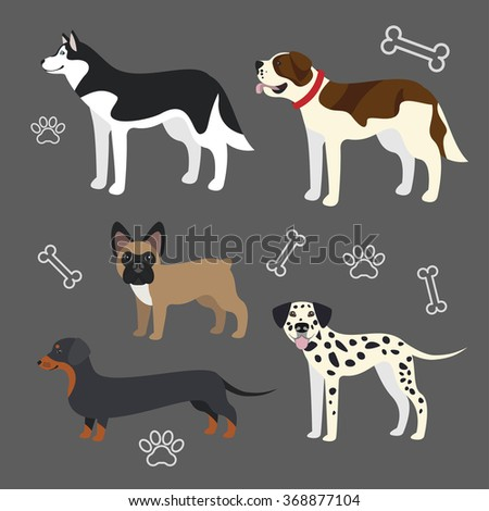 set of vector funny dogs
