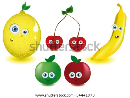 funny fruit. Vector Funny Fruits