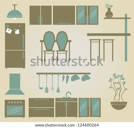 set of vector furniture icons for kitchen