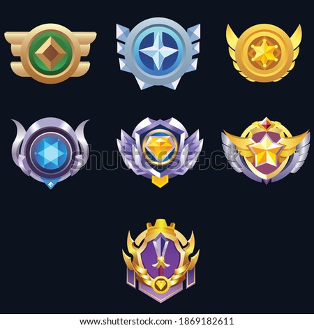 Set of Vector Game Medal Set For Winners.Game Golden, Silver, Bronze Medal. Vector Illustration, Vector round assets for game design.Award vector illustration.