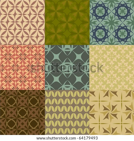 Set of vector geometric seamless patters