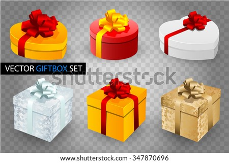 set of vector gift boxes with