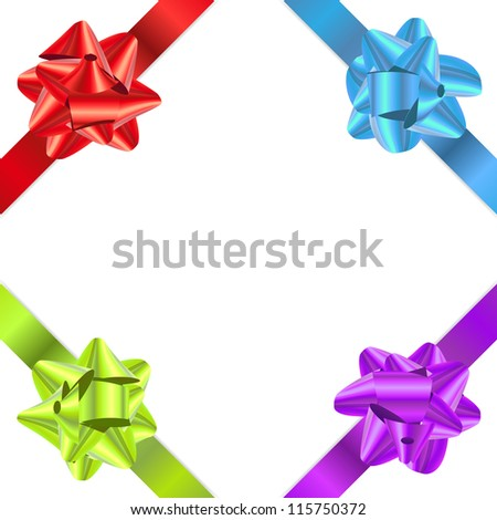 Set of vector gift ribbons with bow