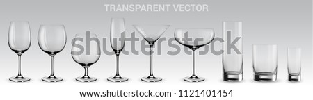 Set of vector glasses.  Set of transparent vector glasses for wine, martini, champagne and other