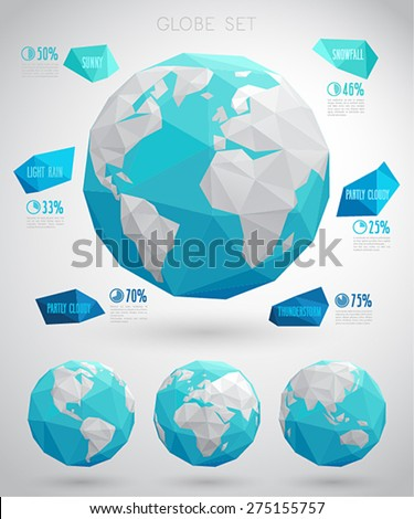 Set of vector globes - geometric modern style