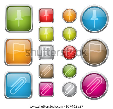 Set of vector glossy buttons with office sign icons