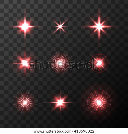 Set of Vector glowing light effect  red stars bursts with sparkles on transparent background. Transparent red stars.