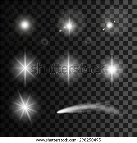 Set of Vector glowing light effect stars and comet with sparkles on transparent background.