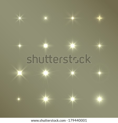 set of vector glowing light