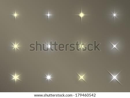 set of vector glowing light