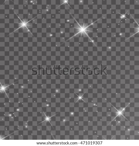 Set of Vector glowing light effect stars bursts with sparkles on transparent background.  ストックフォト ©