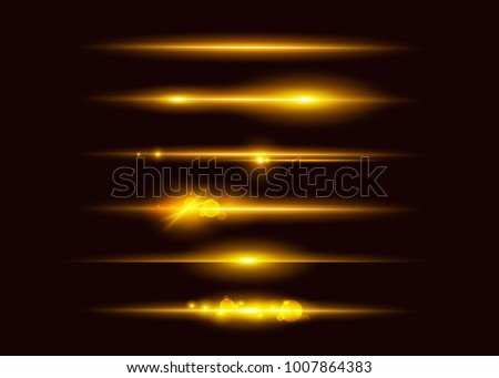 Set of Vector Glowing Neon Light Effects. Abstract Golden Line with Radiance and Bokeh Effect. UI Design Element. Transparent Lens Flare. Futuristic Vibrant Glow for Game Design, Banner, Frame, Button
