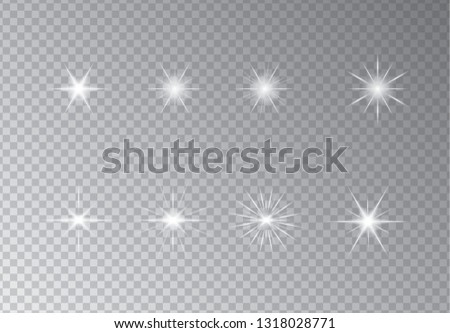 Set of Vector glowing sparkling stars, vector illustration on transparency