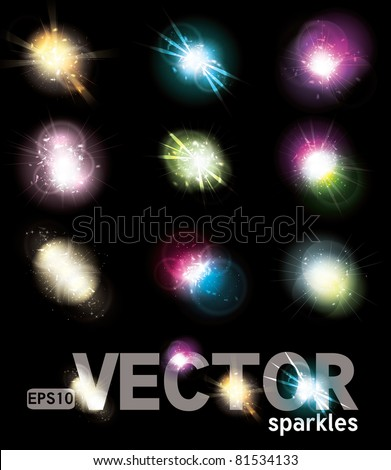 Set of Vector glowing special light effect star bursts with sparkles