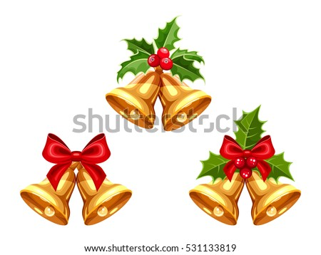 set of vector gold christmas
