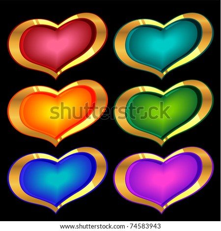 set of vector golden and color hearts on black