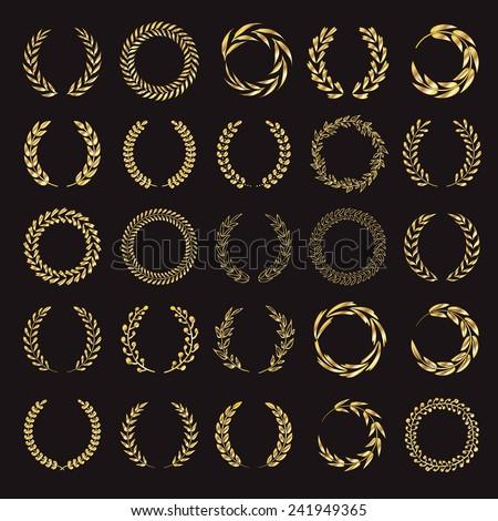 Set of vector golden laurel wreaths. Vintage designs. Leaves and branches round frames. Black back.