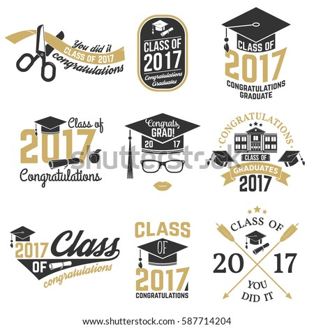 Set of Vector graduates Class of 2017 badges. Concept for shirt, print, seal, overlay or stamp, greeting, invitation card.  Graduation design with graduation cap and text Class of.