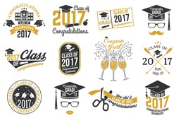 Set of Vector graduates Class of 2017 badges. Concept for shirt, print, seal, overlay,  stamp, greeting, invitation card. Typography design- stock vector. Graduation design with hut and text Class of.
