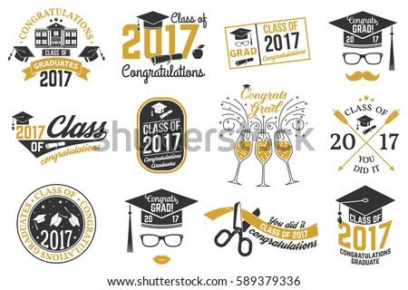 set of vector graduates class