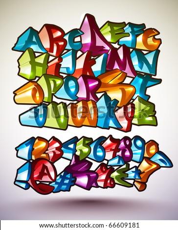Set of Vector Graffiti Alphabets