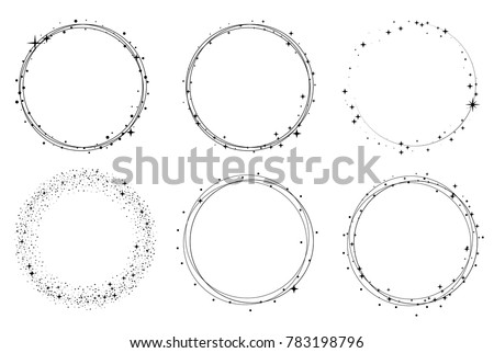 Set of vector graphic circle frames. Wreaths for design, logo template. Stardust, stars, starry sky.