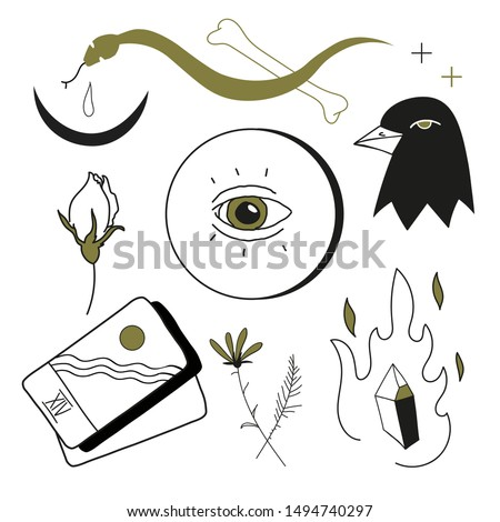 Set of vector graphics. Mystical objects. This artwork can be used as illustrations, decor, stickers, tattoo flash.