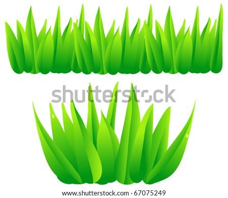Cartoon Jungle Grass Set of vector grass - stock