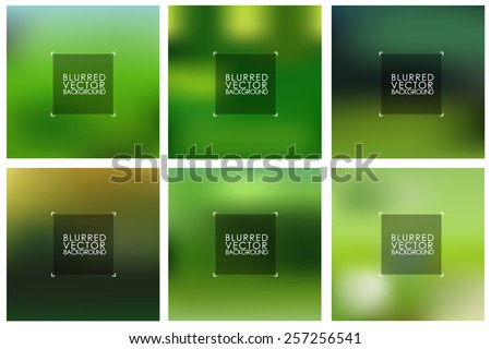 set of vector green blurred