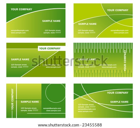 set of vector green business card - horizontal orientation