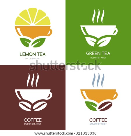 set of vector green tea and hot