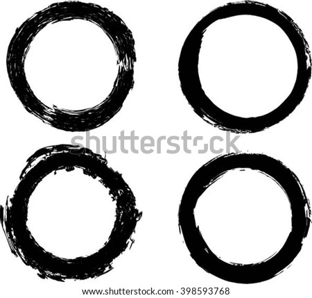 Set of vector grunge circle brush strokes, for frames and design elements