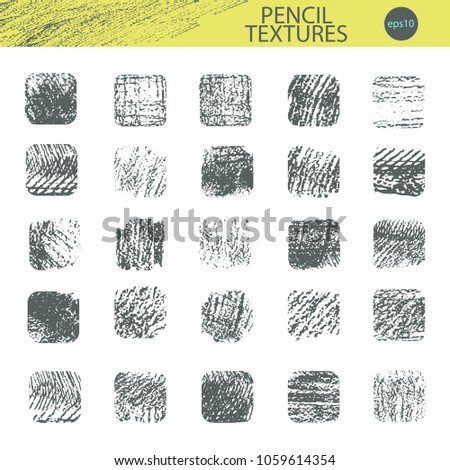 Set of vector grungy graphite pencil textures in square shapes. Light and rough cross-hatching. Hand drawn design elements.