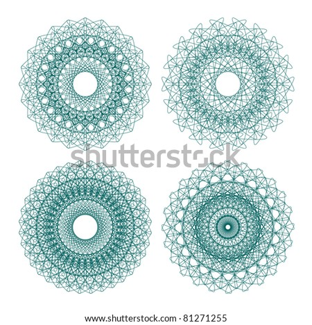 Set of vector guilloche rosettes certificate or diplomas, decorative elements