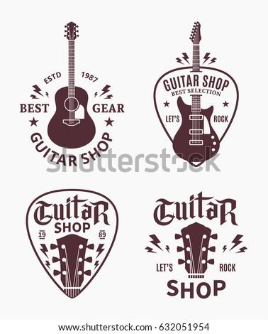 Set of vector guitar shop logo.