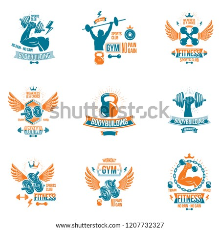 Set of vector gym and fitness theme emblems and motivational posters created with dumbbells, barbells, kettle bells sport equipment and muscular athlete body silhouettes.