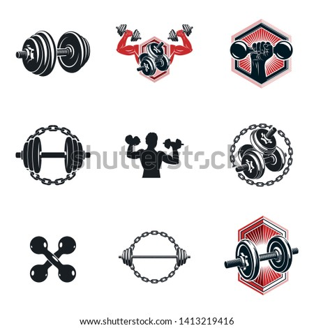 Set of vector gym and fitness theme illustrations created with dumbbells, barbells and disc weights sport equipment. Muscular athlete body silhouette.