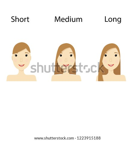 Set of vector hair styles for women. Short, medium and long haircut in flat style. Eps10