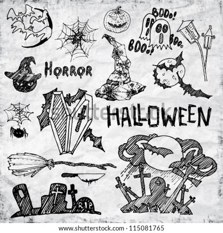 Set of Vector Halloween Hand Draw Design Elements
