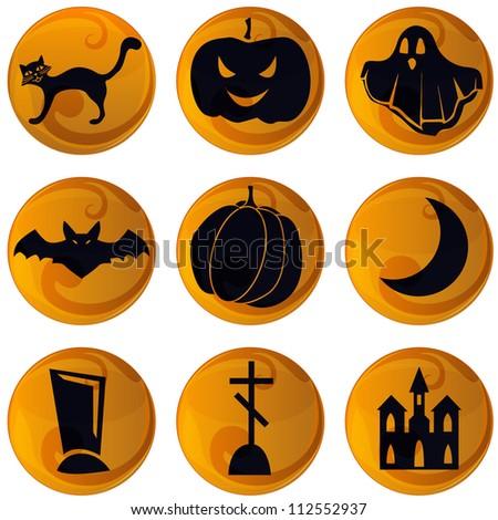 set of 9 vector Halloween icons on orange background