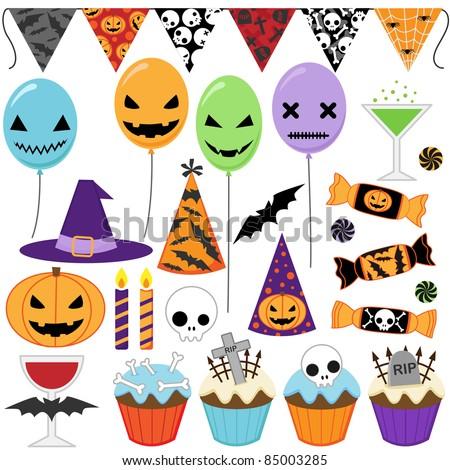 Set of vector Halloween party elements