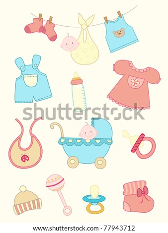 set of vector hand drawn baby icons