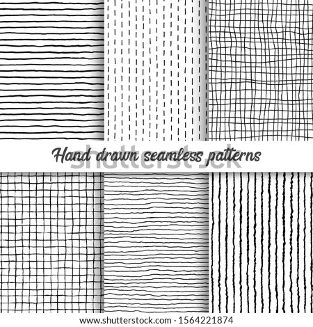Set of vector hand drawn checkered seamless pattern, messy striped endless ornament. Pattern swatch included in the Swatches panel