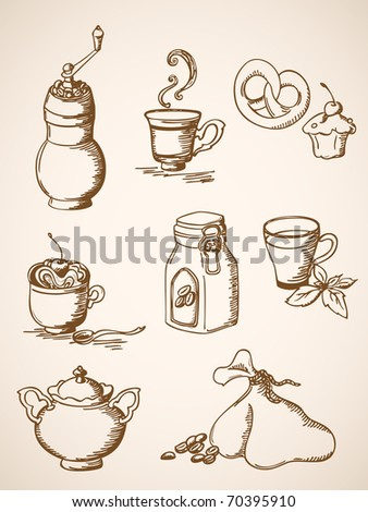 set of vector hand drawn  coffee icons in retro style