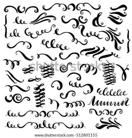 Set of vector hand drawn decorative elements. Curves, brush strokes, curls, swashes, flourishes for text and page design.