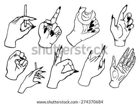 royalty free set of hand drawn fashion hands 274370567 stock photo