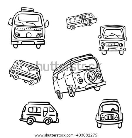Set of vector hand drawn hippie vans from 60-s