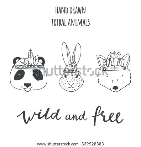 Vector Images Illustrations And Cliparts Set Of Vector Hand Drawn Indian Elements Animals Panda Rabbit Wolf Lettering Sing Wild And Free Hqvectors Com